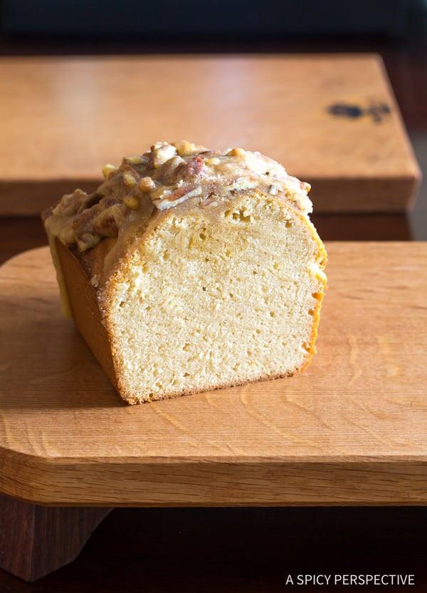Simple Pecan Praline Pound Cake Recipe | ASpicyPerspective.com