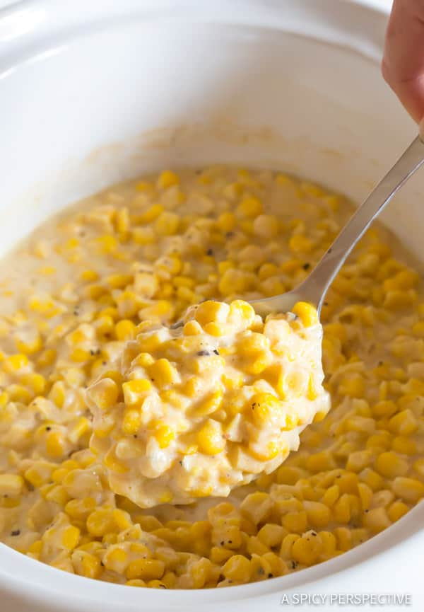 Best Slow Cooker Creamed Corn Recipe | ASpicyPerspective.com #thanksgiving #christmas #holidays