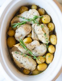 Slow Cooker Garlic Butter Chicken and Potatoes | ASpicyPerspective.com