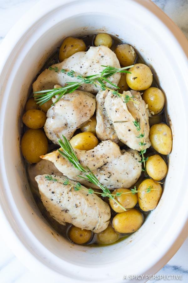 Slow cook boneless chicken breast in crock potatoes