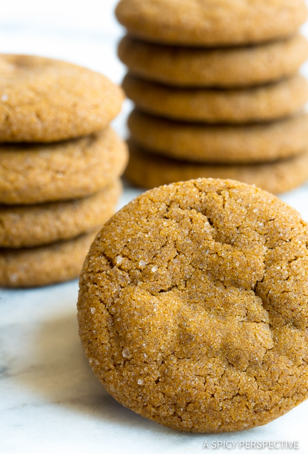 Best Soft Chewy Molasses Cookies Recipe | ASpicyPerspective.com #holidays #christmas