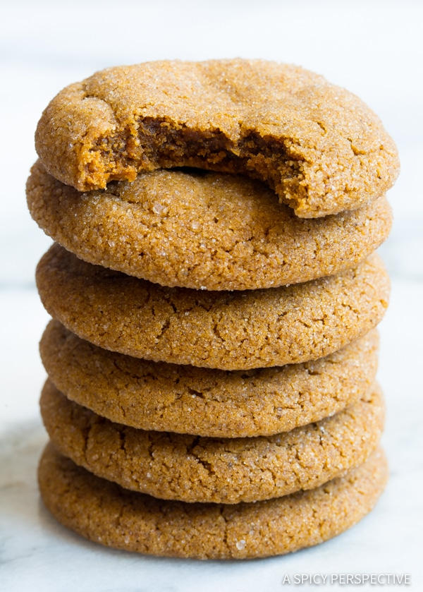 Soft Chewy Molasses Cookies Recipe | ASpicyPerspective.com