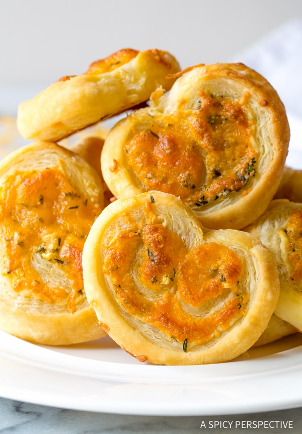 The Best 6-Ingredient Cheesy Garlic Herb Palmiers #holidays #appetizer #party