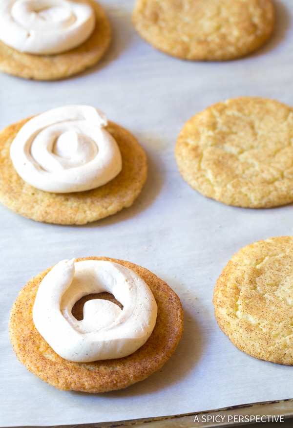 Easy Snickerdoodle Sandwich Cookies | A Spicy Perspective #christmas #holidays