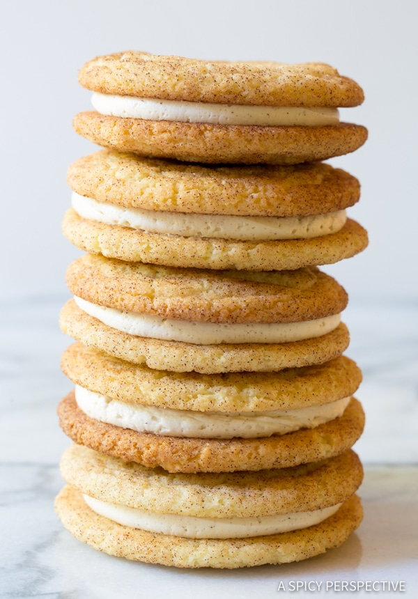 Perfect Snickerdoodle Sandwich Cookies | A Spicy Perspective #christmas #holidays