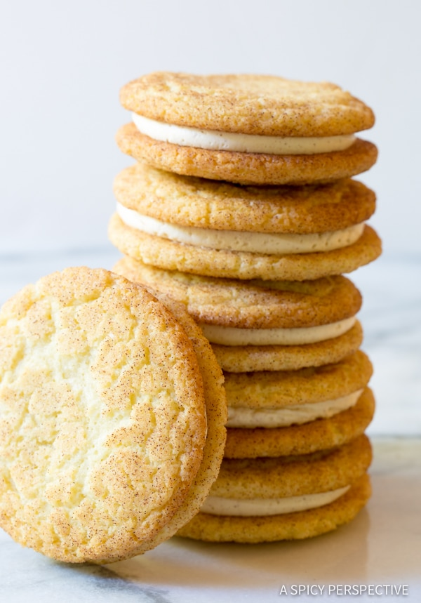 Best Ever Snickerdoodle Sandwich Cookie Recipe  #ASpicyPerspective #snickerdoodle #cookies #holiday #christmas #whoopiepie