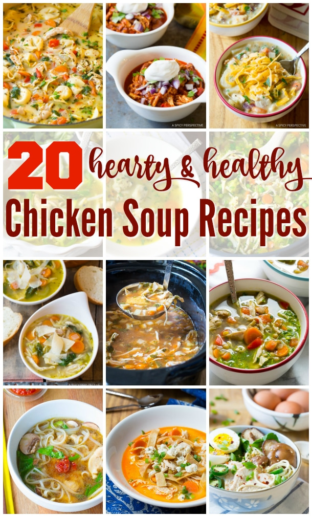 20 Hearty and Healthy Chicken Soup Recipes #glutenfree #dairyfree #paleo #lowcarb
