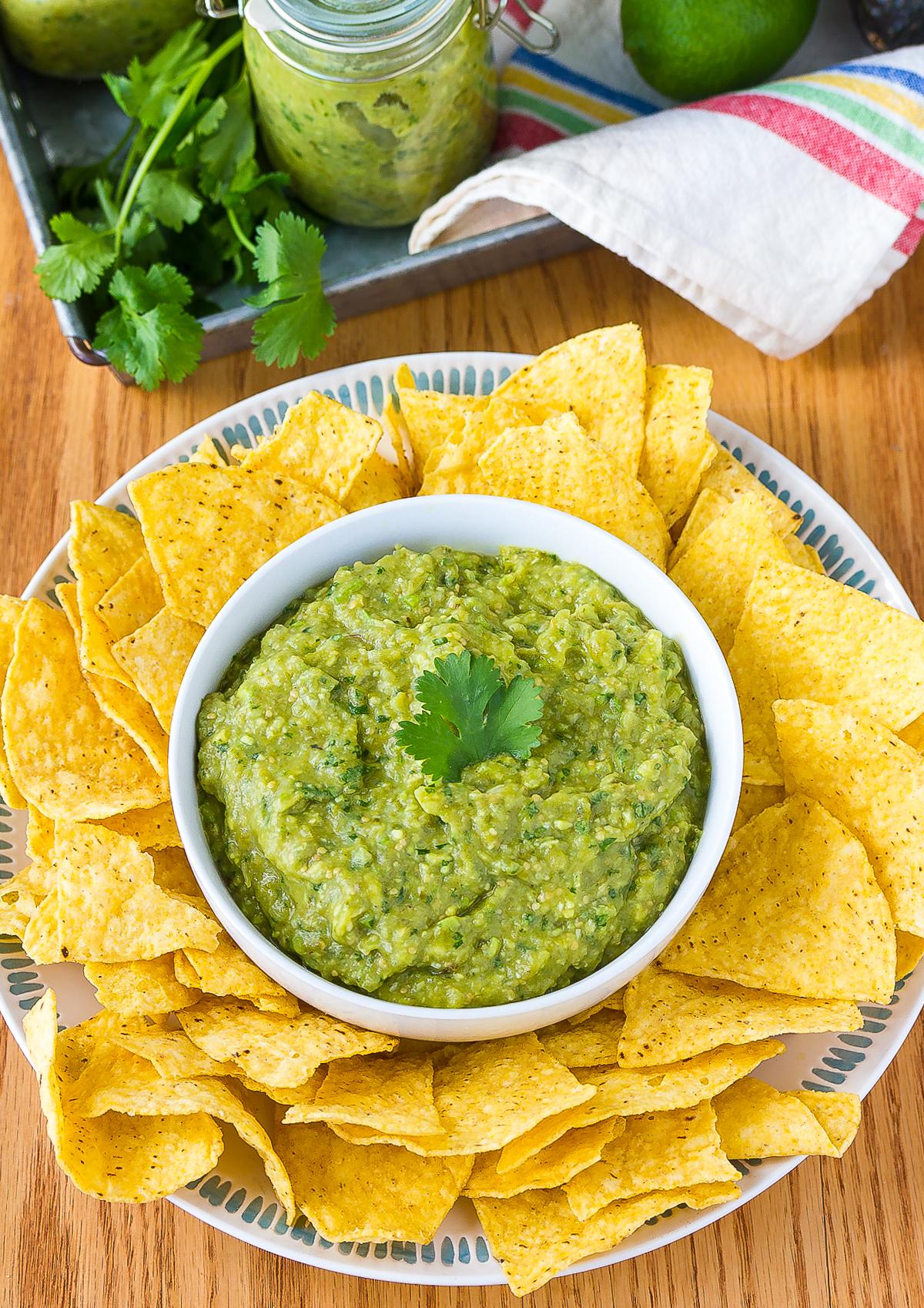 Easy Tomatillo Salsa Verde Recipe #ASpicyPerspective #homemade #salsa #salsaverde #verde #avocado #tomatillo #best #summer #fresh