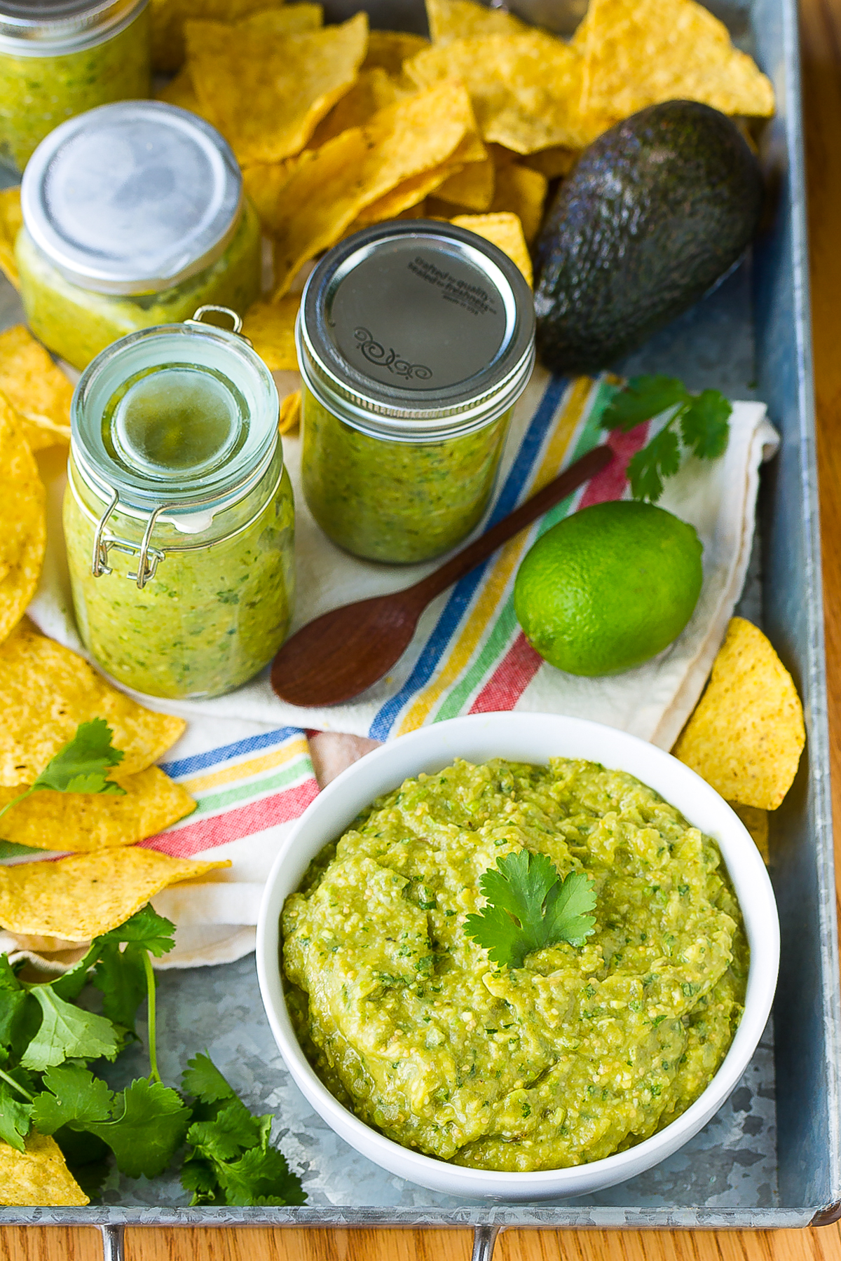 Creamy Avocado Salsa Verde Recipe #ASpicyPerspective #homemade #salsa #salsaverde #verde #avocado #tomatillo #best #summer #fresh