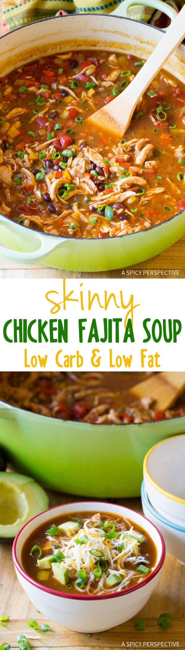 Skinny Chicken Fajita Soup , a zesty low fat, gluten free meal with an ...