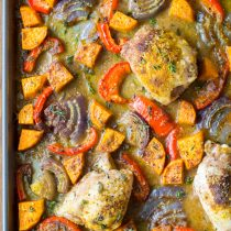Caribbean Chicken Curry Sheet Pan Dinner (Low Carb, Gluten Free, and Dairy Free!)