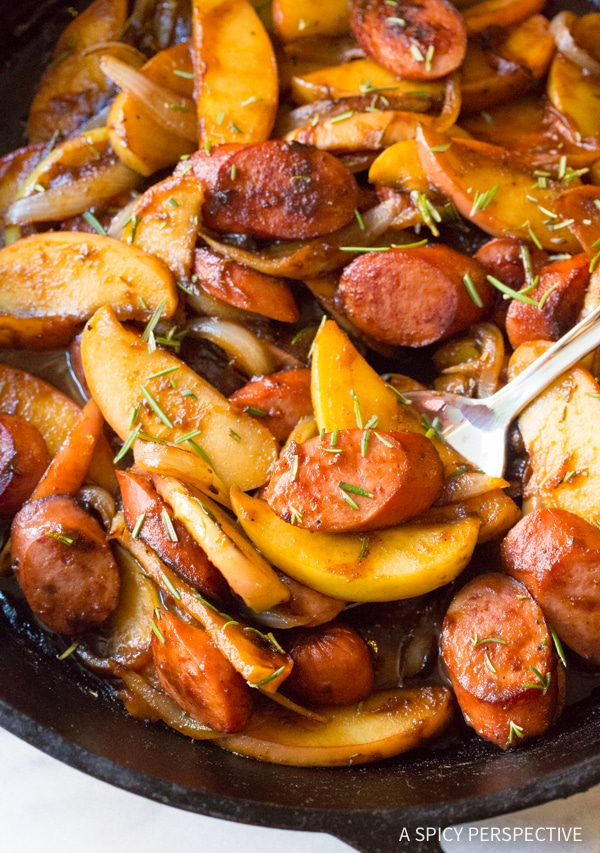 Cozy & Light Kielbasa Apple Onion Skillet #healthy #glutenfree