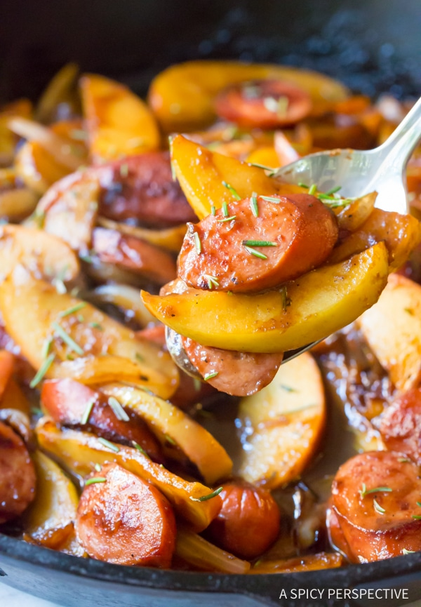 Cozy & Light Kielbasa Apple Onion Skillet #healthy #glutenfree