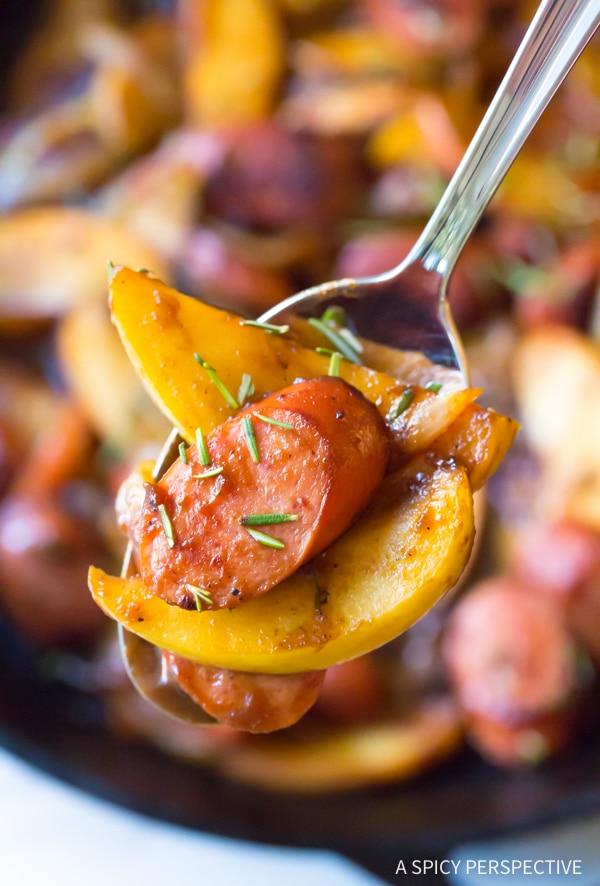 Light Kielbasa Apple Onion Skillet #healthy