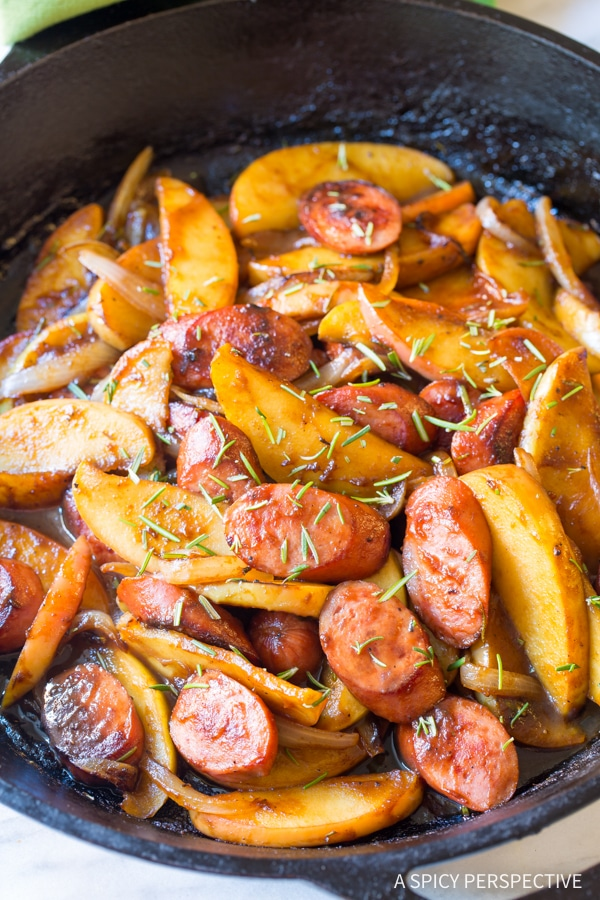 Dazzling Light Kielbasa Apple Onion Skillet #healthy #glutenfree