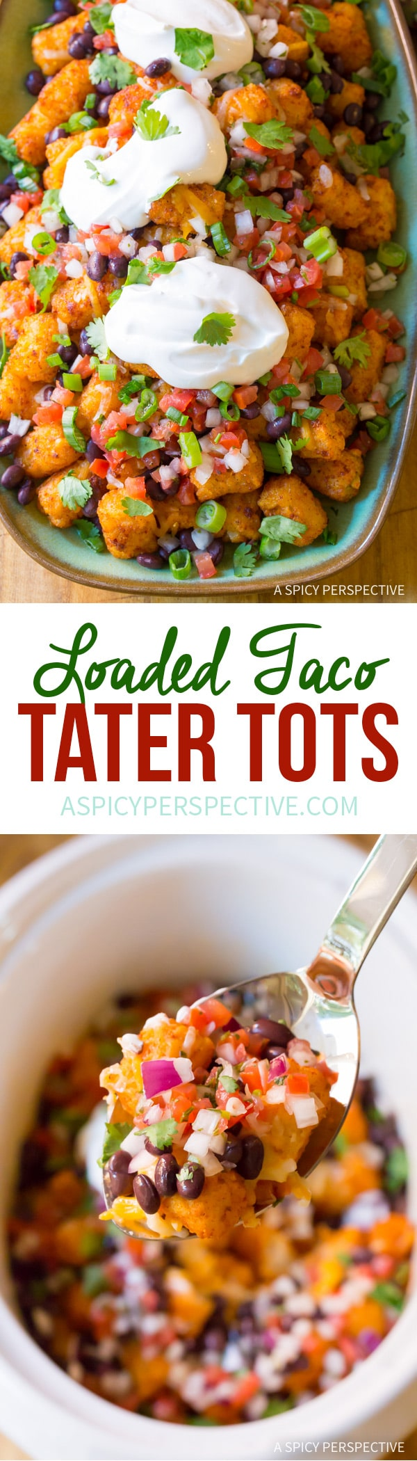 Best Taco Tater Tots (Two Ways!) An easy party recipe you can lighten-up! #glutenfree #lowfat