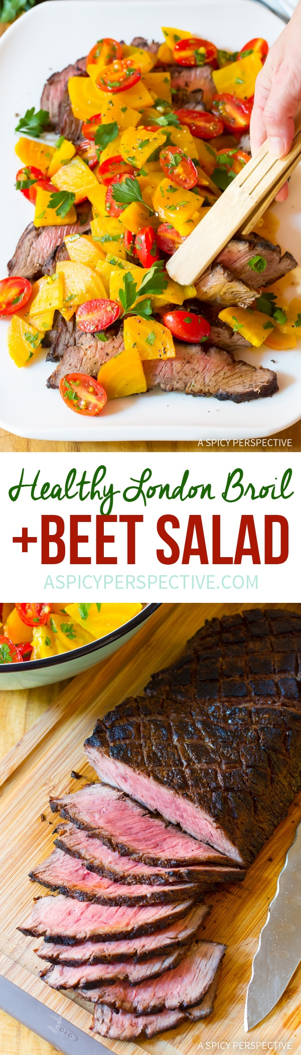 Delish & Low Carb London Broil Recipe with Golden Beet Salad #Healthy #GlutenFree #Paleo
