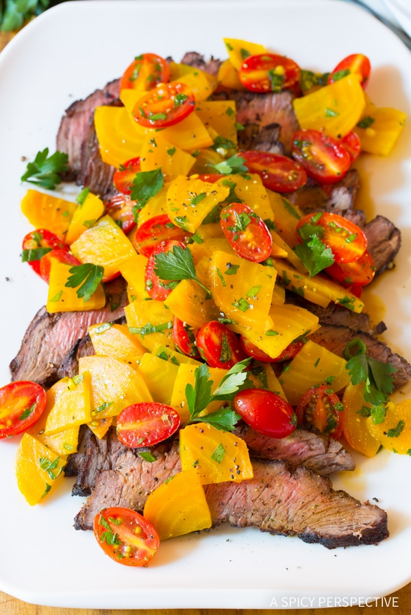 ... London Broil Recipe with Golden Beet Salad #Healthy #GlutenFree #Paleo