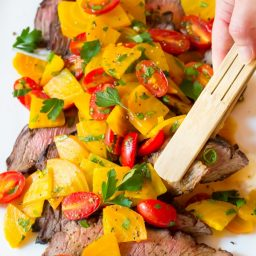 Low Carb London Broil Recipe with Golden Beet Salad #Healthy #GlutenFree #Paleo