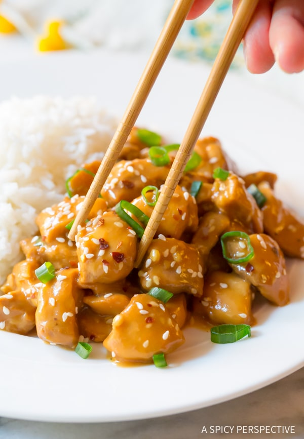 Easy Low Carb Slow Cooker Orange Chicken #healthy #glutenfree