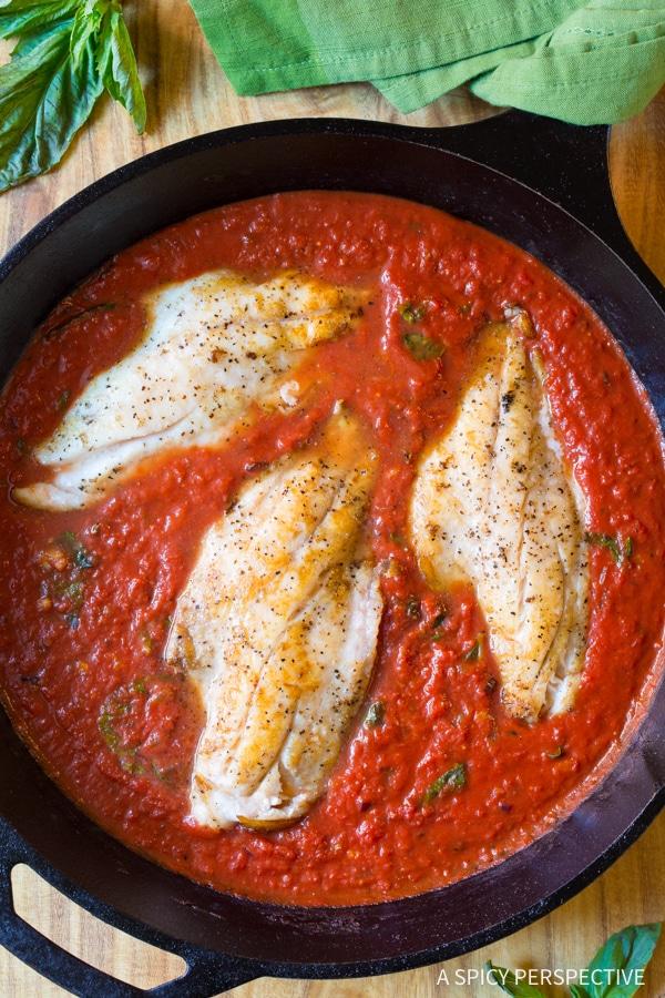 Best Low Carb White Fish Pomodoro #healthy #paleo