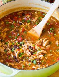 Skinny Chicken Fajita Soup Recipe - Low Fat, Gluten Free, & Low Carb Option!