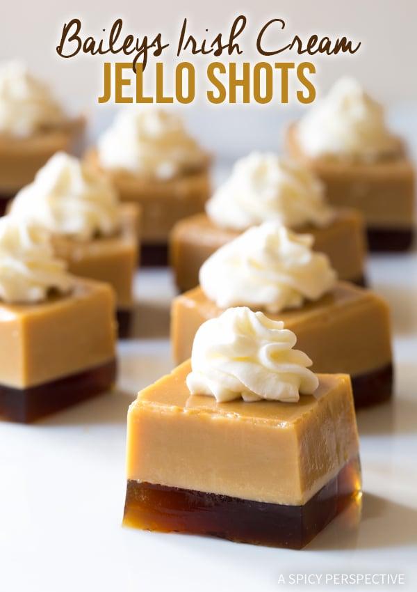Bailey's Irish Cream Jello Shot Recipe #ASpicyPerspective #BaileysIrishCream #BaileysDrink #Liqueur #StPatricksDay #StPaddysDay #JelloShots #JelloShotRecipe #HowToMakeJelloShots