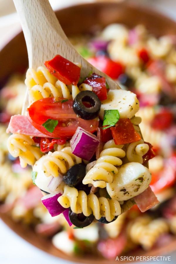 Italian Pasta Salad Recipe #ASpicyPerspective #PastaSalad #PastaSaladRecipe #ItalianPastaSalad #Italian #Salad #BestPastaSalad #Spring #Summer