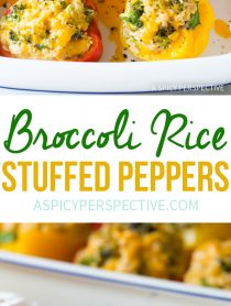Comforting Cheesy Broccoli Rice Stuffed Peppers Recipe #vegetarian