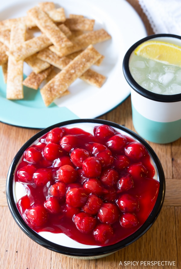 Simple 6-Ingredient Cherry Cheesecake Dip with Pie Crust Sticks Recipe
