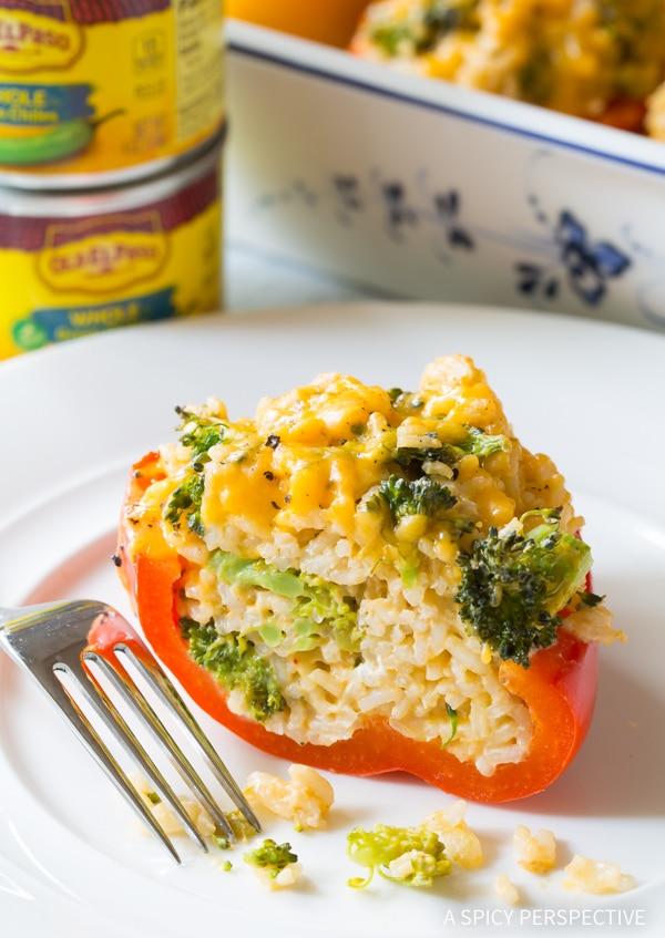 Best Cheesy Broccoli Rice Stuffed Peppers Recipe #vegetarian