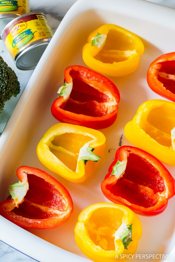 Making Cheesy Broccoli Rice Stuffed Peppers Recipe #vegetarian