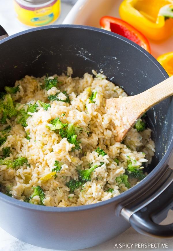 Simple Cheesy Broccoli Rice Stuffed Peppers Recipe #vegetarian