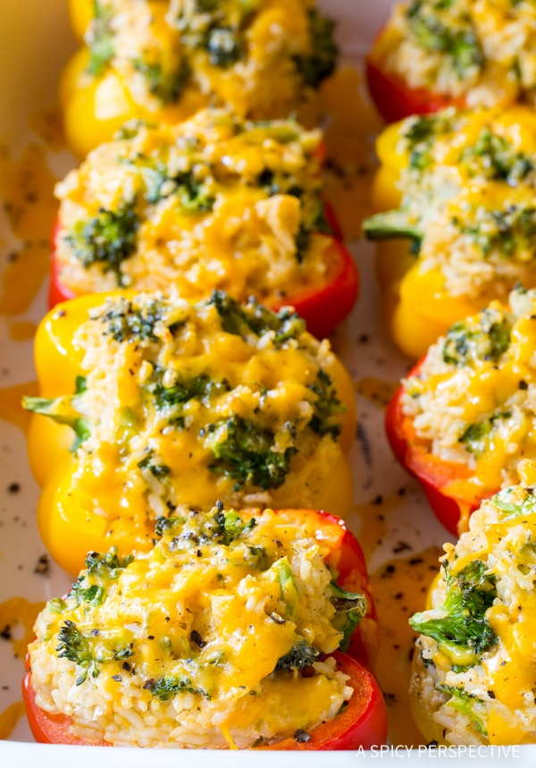 Cheesy Broccoli Rice Stuffed Peppers Recipe #vegetarian
