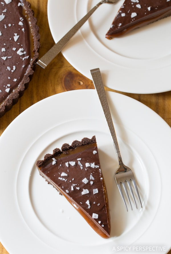 Best Salted Caramel Chocolate Tart (Gluten Free!) #valentinesday