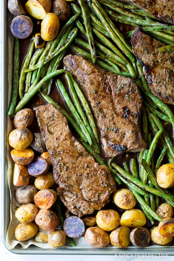 Tangy Balsamic Steak Sheet Pan Dinner