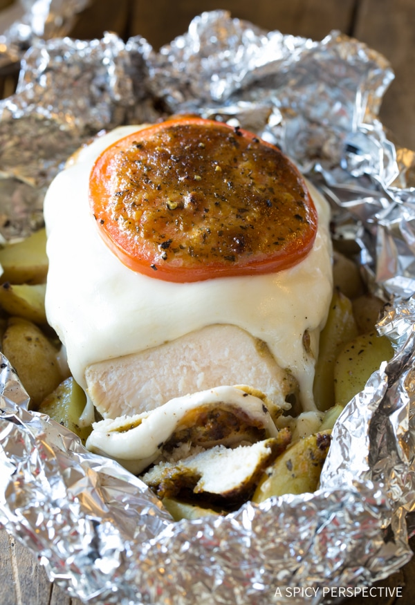 Simple Caprese Chicken Foil Packets Recipe