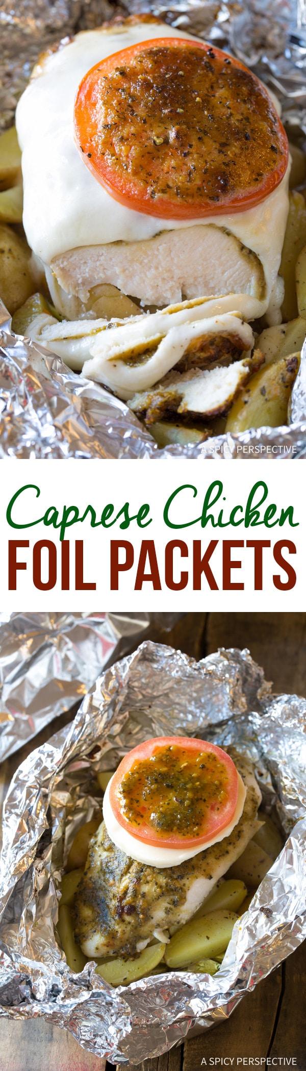 Cheesy Caprese Chicken Foil Packets Recipe