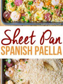 Easy Spanish Paella Sheet Pan Dinner Recipe #healthy #light