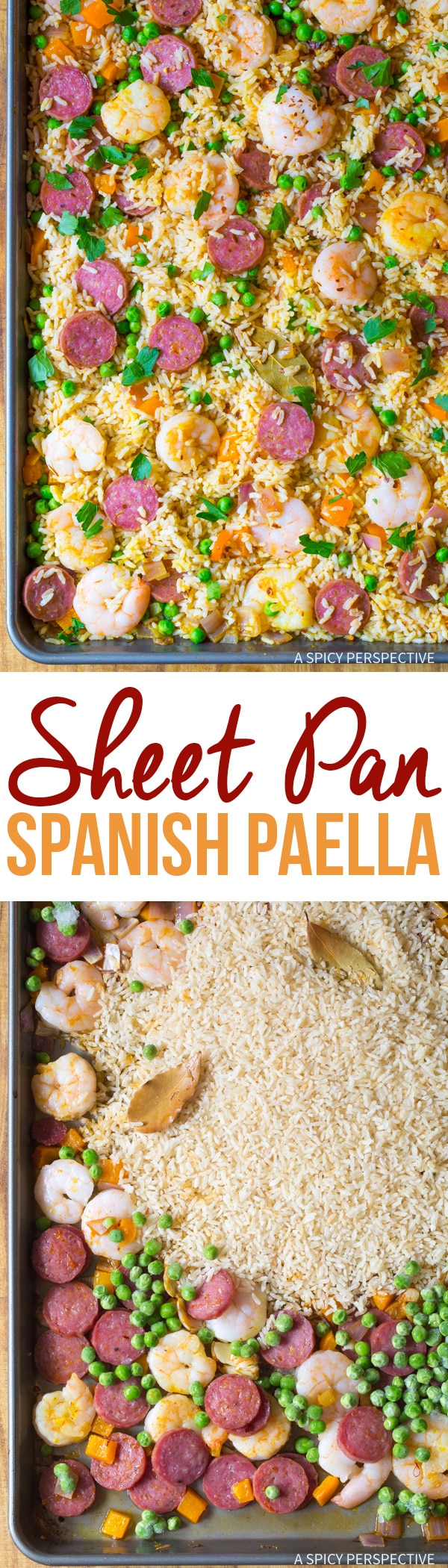 Easy Spanish Paella Sheet Pan Dinner Recipe #healthy #light