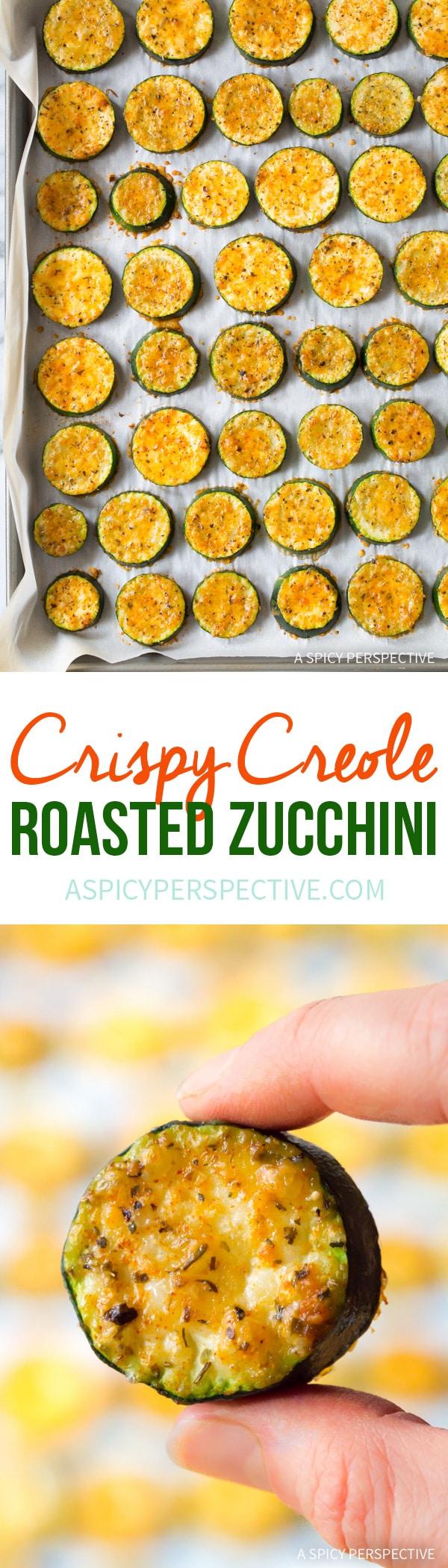 Healthy Crispy Creole Roasted Zucchini Recipe #healthy #lowcarb