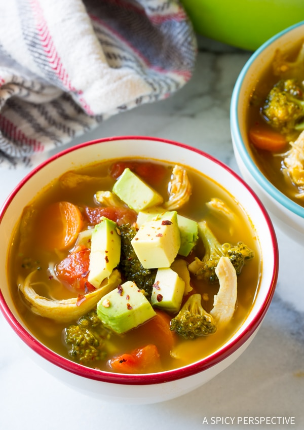 Detox Southwest Chicken Soup Recipe #ASpicyPerspective #Cleanse #Detox #Diet #Soup #Chicken