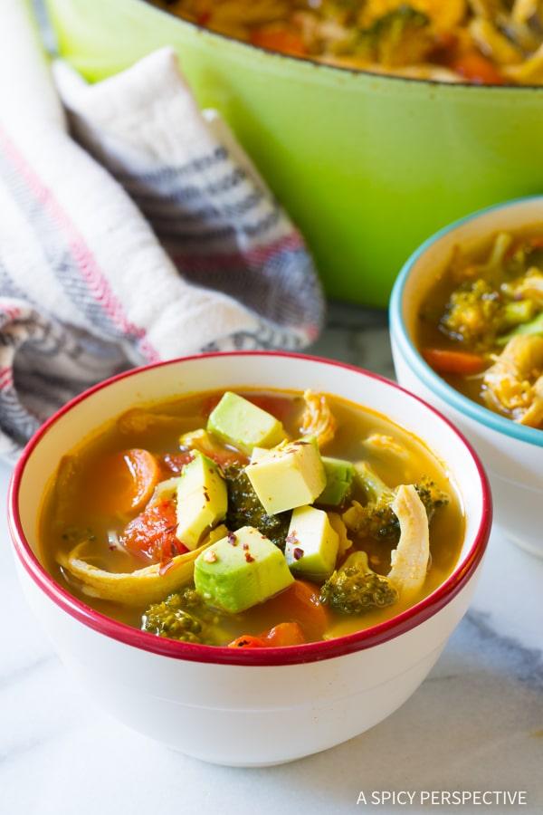 Perfect Southwest Chicken Detox Soup Recipe #cleanse #diet