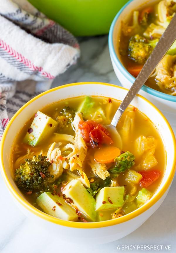 Amazing Southwest Chicken Detox Soup Recipe #cleanse #diet