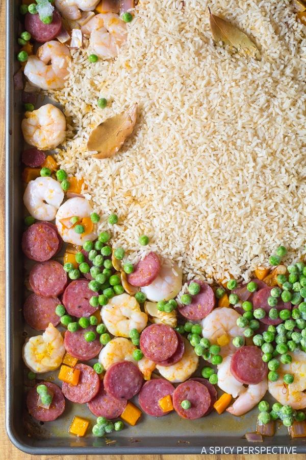 Perfect Spanish Paella Sheet Pan Dinner