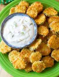 "Oven Baked ""Fried"" Pickles with Garlic Sauce"