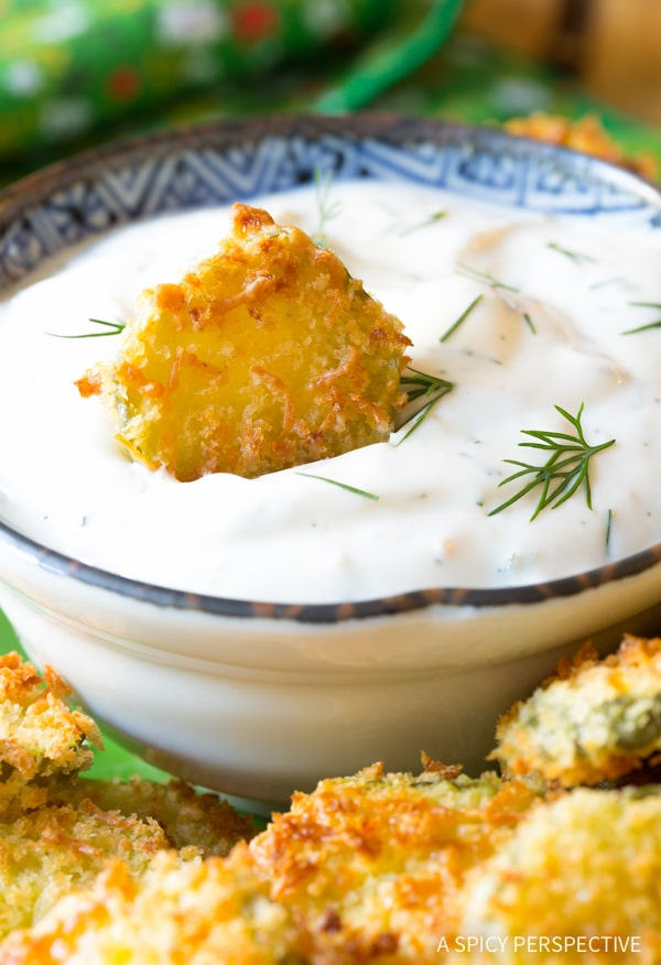 """Lightened-Up Oven Baked """"Fried"""" Pickles with Garlic Sauce"""