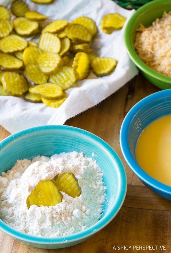 """Making Oven Baked """"Fried"""" Pickles with Garlic Sauce"""