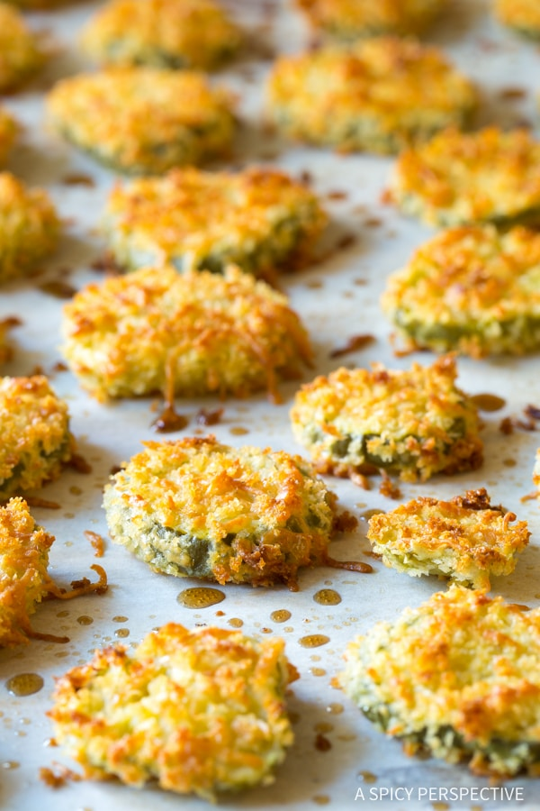 """Best Oven Baked """"Fried"""" Pickles with Garlic Sauce"""