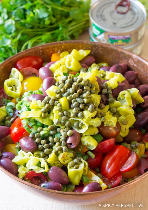 Vibrant Cold Tuna Pasta Salad with Olives and Capers Recipe